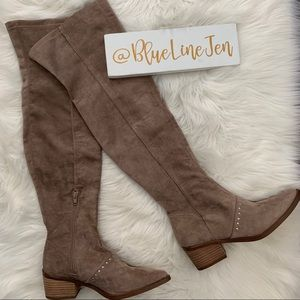 Report Zaria Taupe Suede Over the Knee Boots